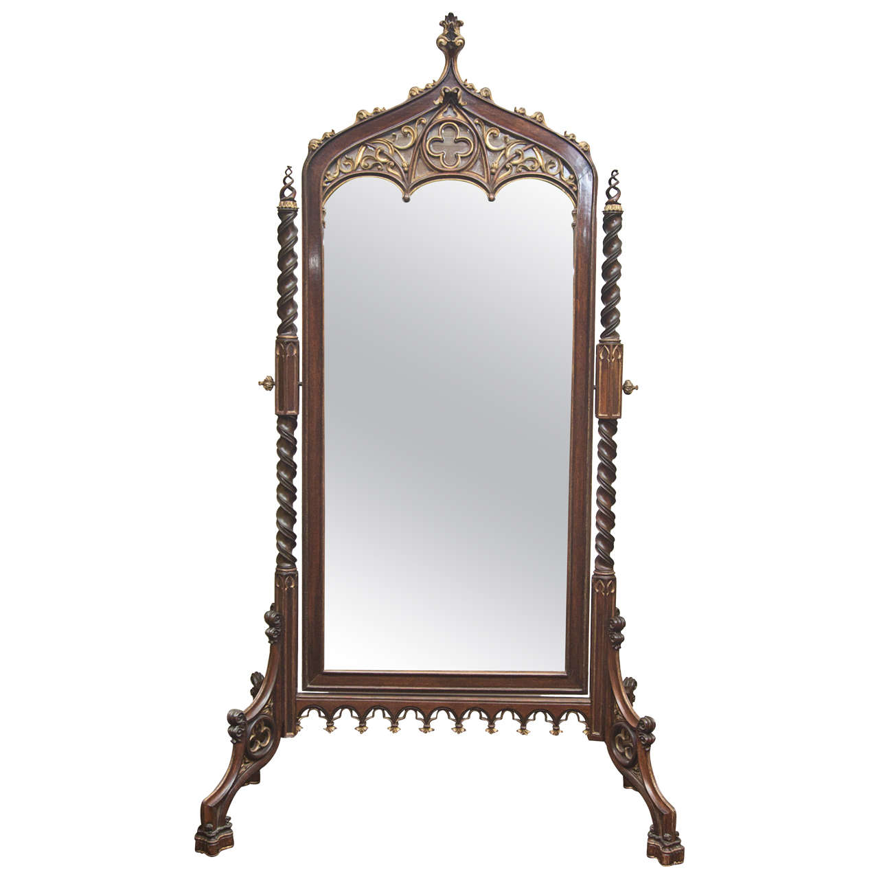 An exceptionally fine 19th century neo gothic cheval for Mirror on mirror