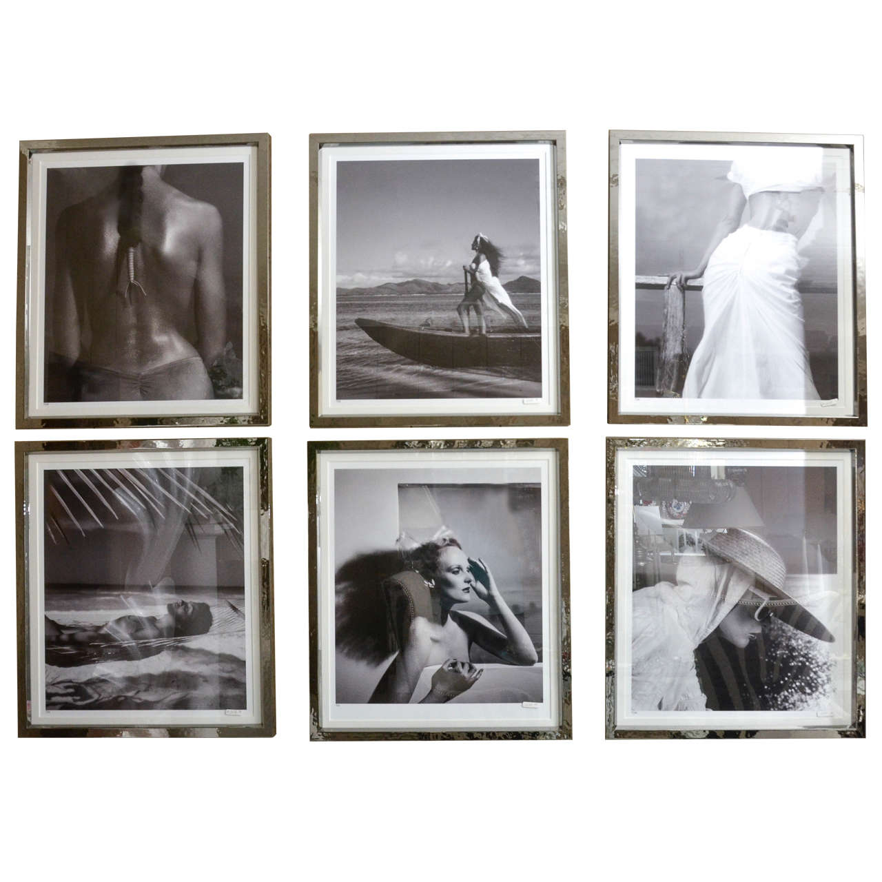 Fashion Photographs by Willie Christie in Silvered Metal Frames 1
