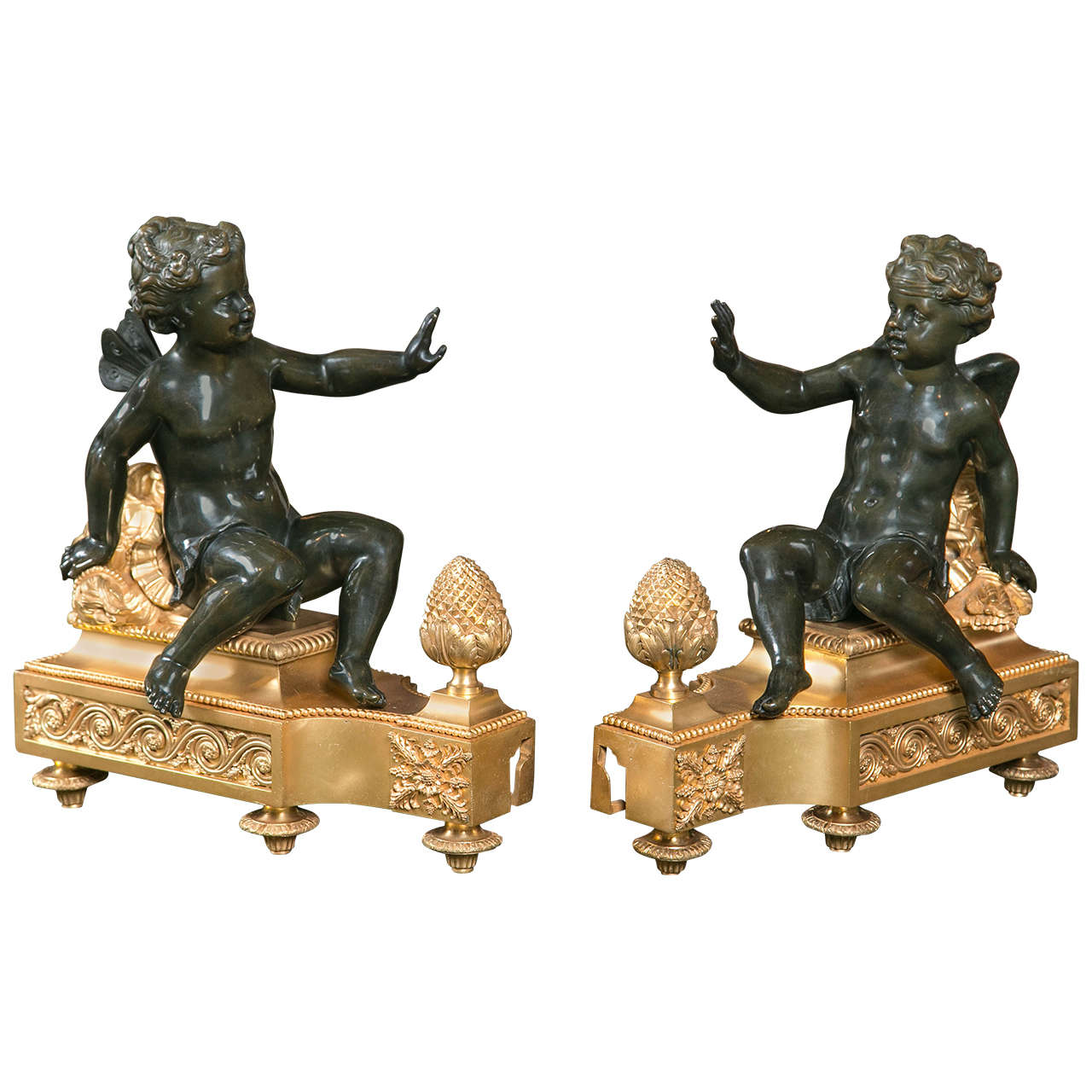 Monumental Size Pair of D'ore and Bronze Chenets For Sale