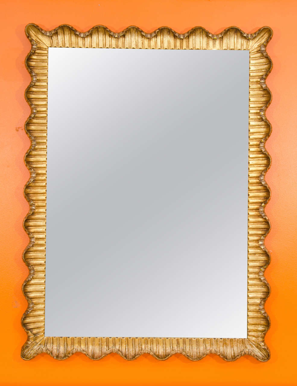 Gilt Decorative Modern Mirror with Scalloped Frame at 1stdibs
