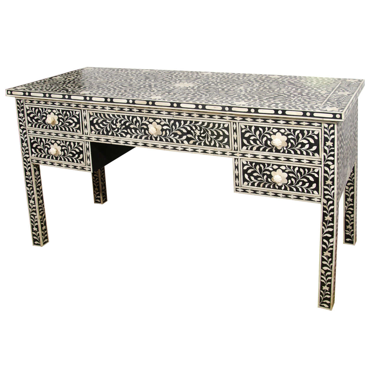 French Connection Gunmetal Coffee Table: Indian Black And White Bone Inlay Desk At 1stdibs