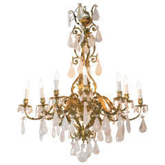 French Rock Crystal and Bronze Chandelier