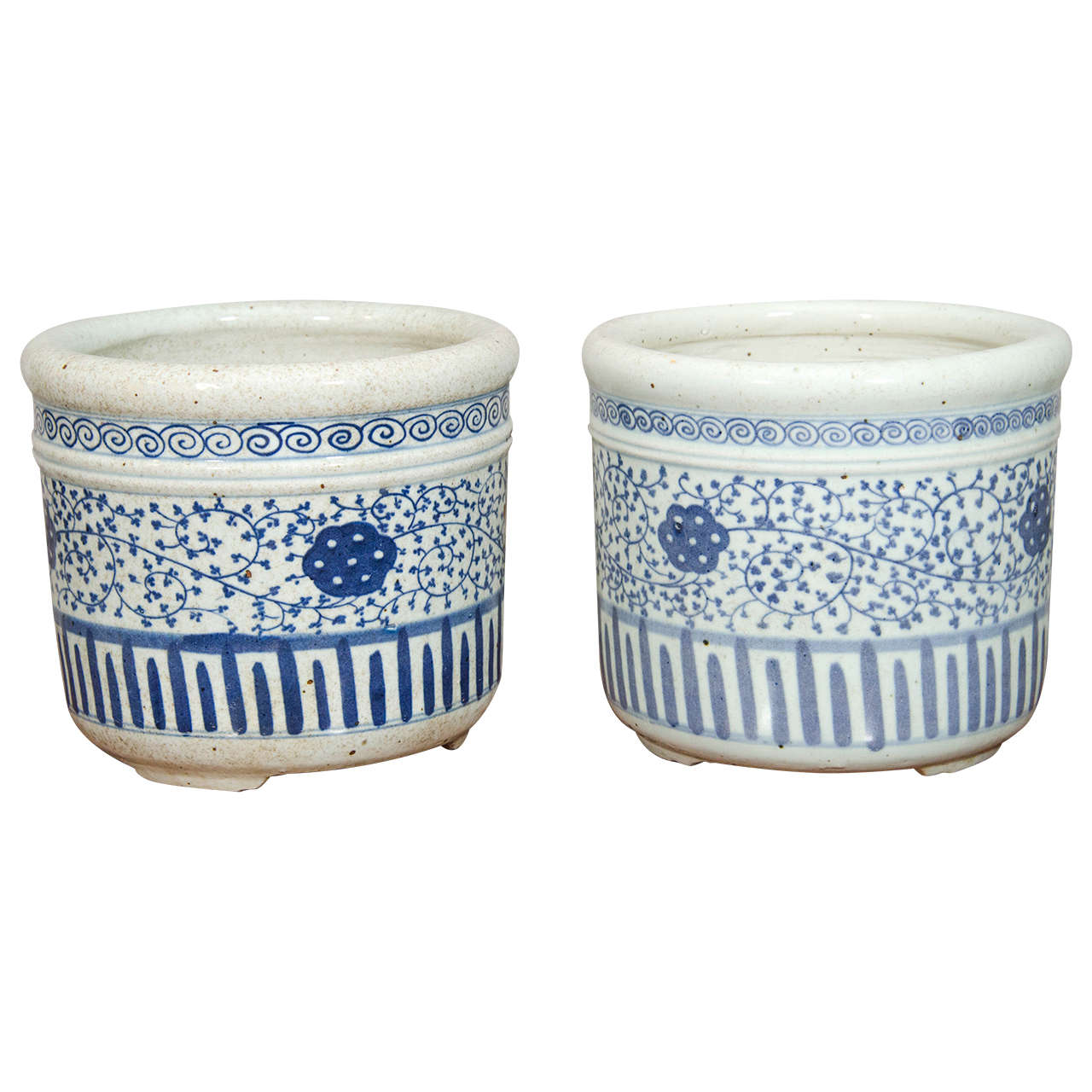 Pair Of Blue And White Porcelain Pots For