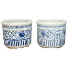 Pair of Blue and White Porcelain Pots