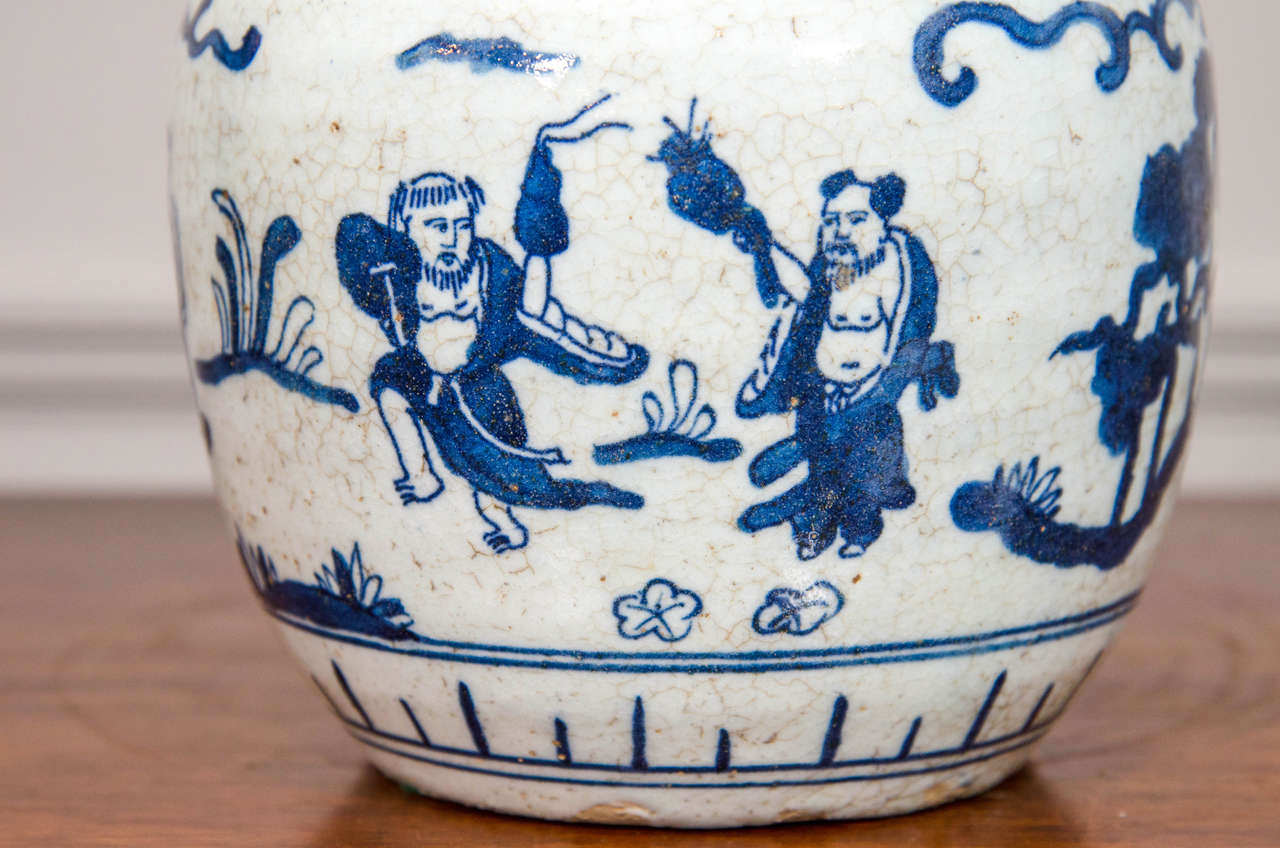 20th Century Single Chinese Blue and White Porcelain Jar Decorated with Figures For Sale