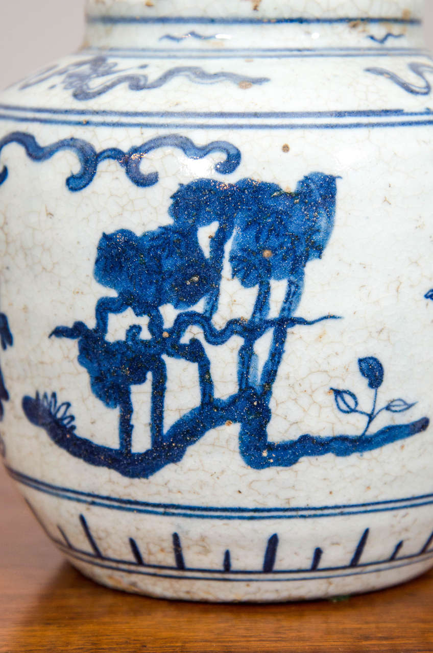 Single Chinese Blue and White Porcelain Jar Decorated with Figures For Sale 1