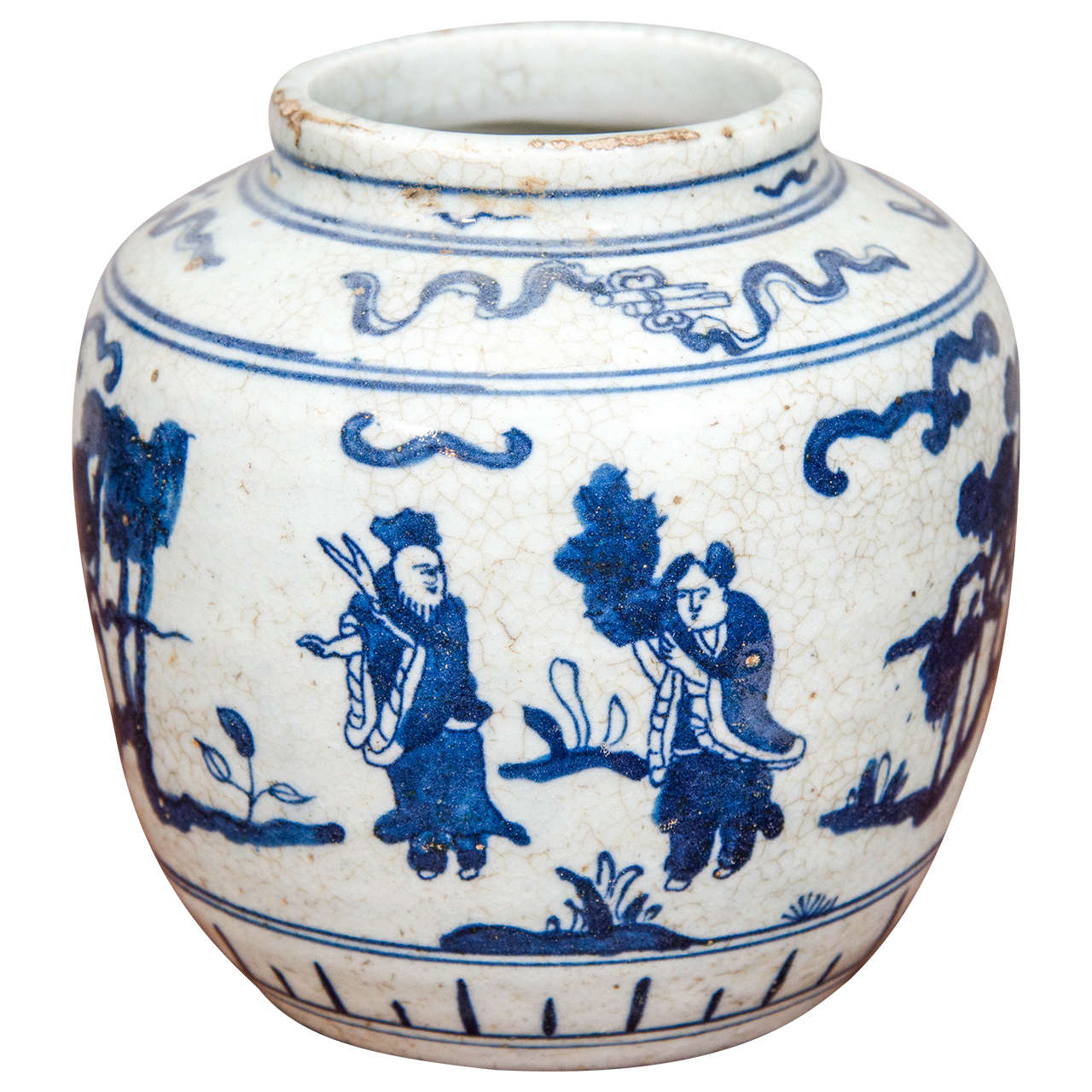 Single Chinese Blue and White Porcelain Jar Decorated with Figures For Sale