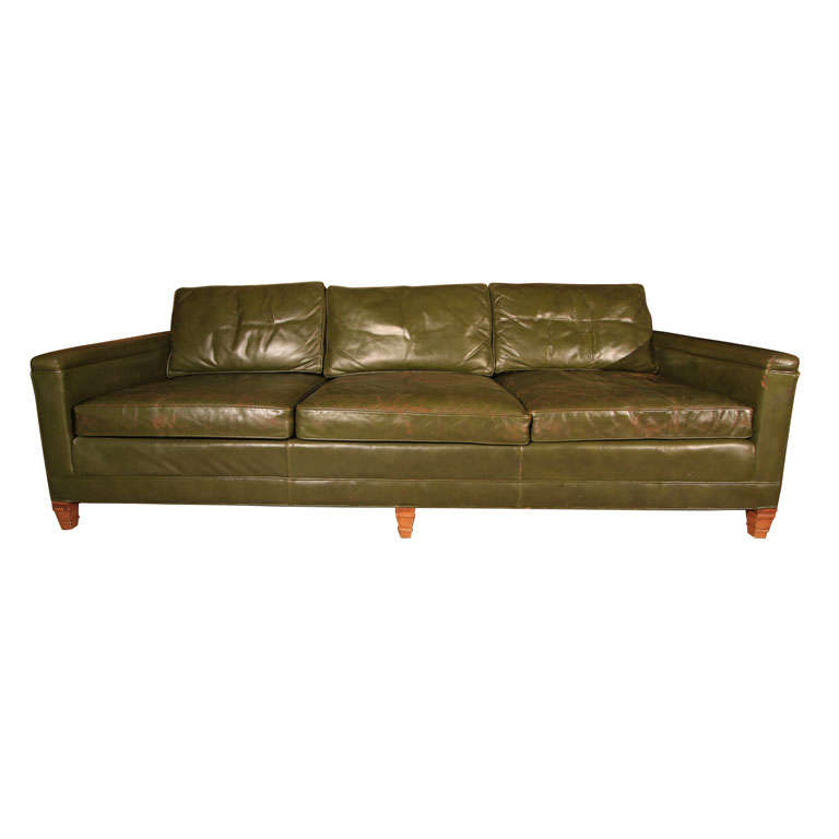 Olive Green Vintage Leather Couch At 1stdibs