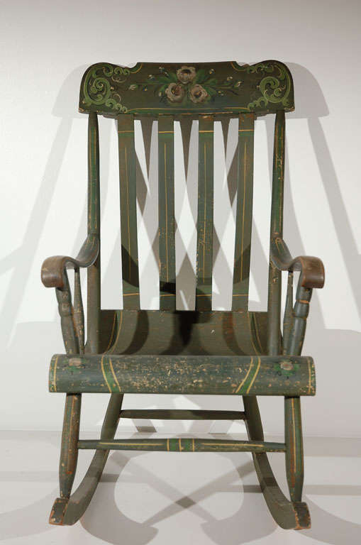 19thc Original Paint Decorated Rocking Chair From