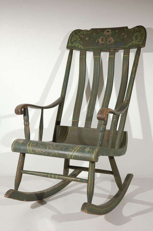 19thc original paint decorated rocking chair from - Rocking chair confortable ...