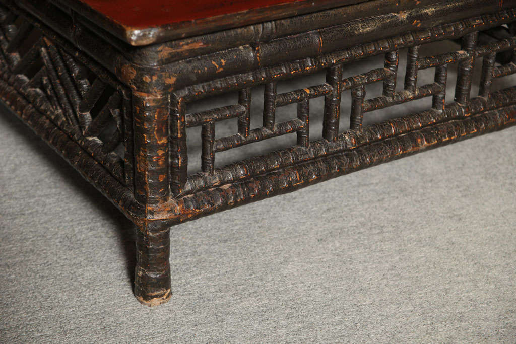 Small 19th Century Chinese Bamboo with Red Lacquered Top Coffee Table 4