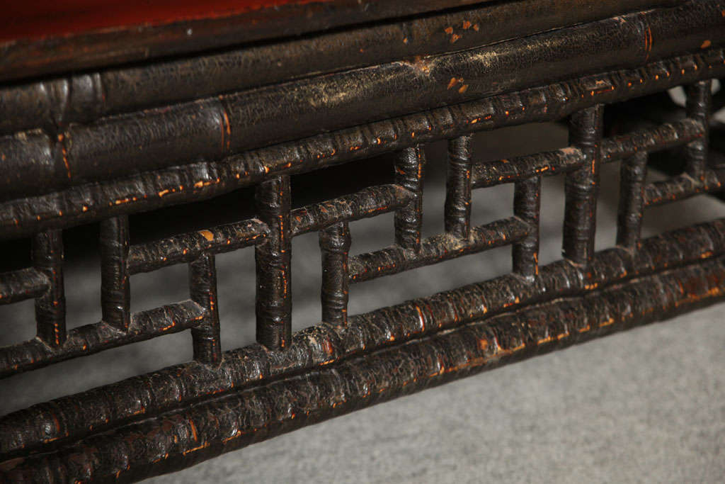 Small 19th Century Chinese Bamboo with Red Lacquered Top Coffee Table 5