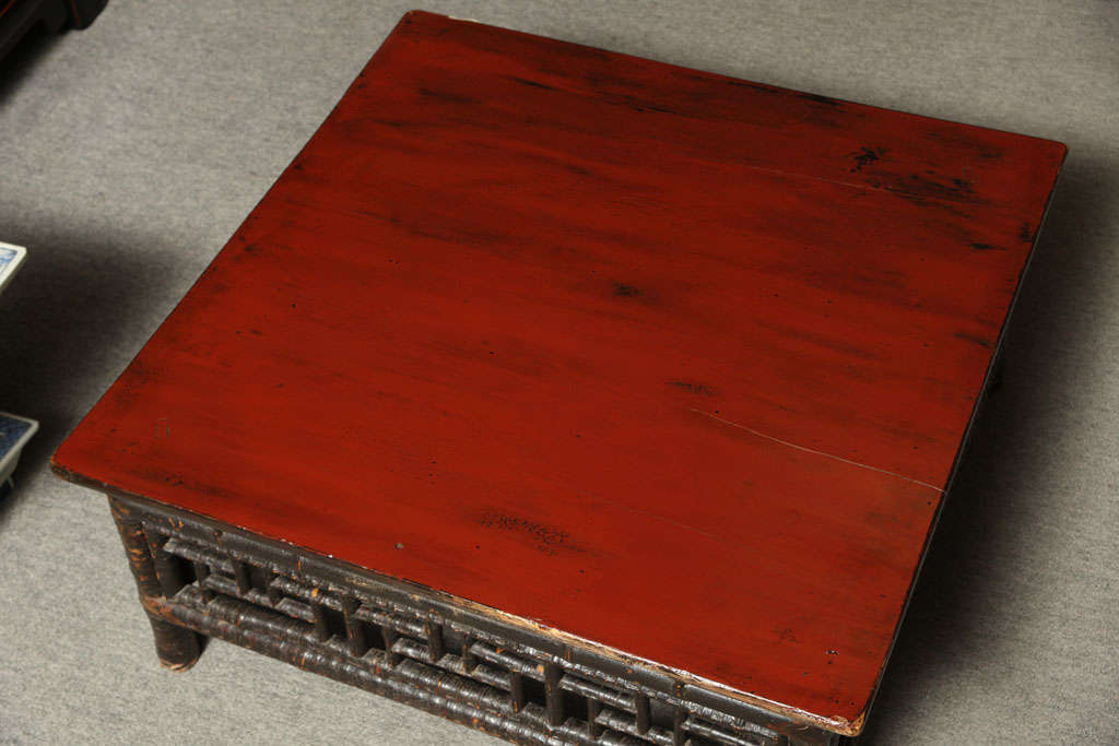 Small 19th Century Chinese Bamboo with Red Lacquered Top Coffee Table 8