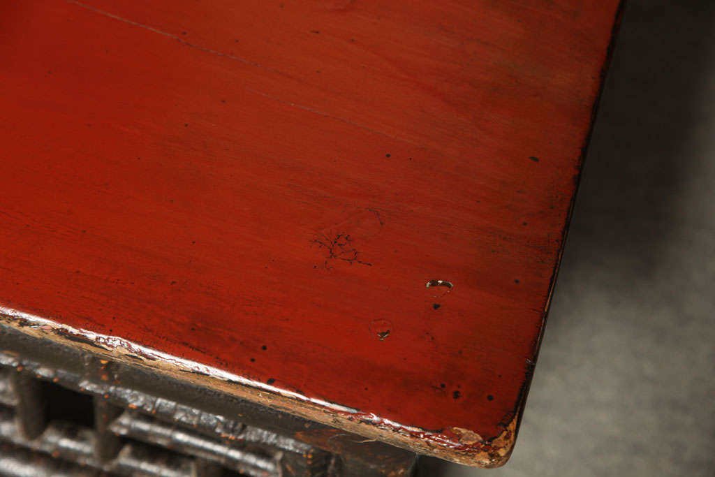 Small 19th Century Chinese Bamboo with Red Lacquered Top Coffee Table 9