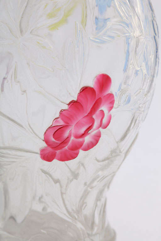 Signed Webb Rock Crystal Vase With Applied Flowers At 1stdibs