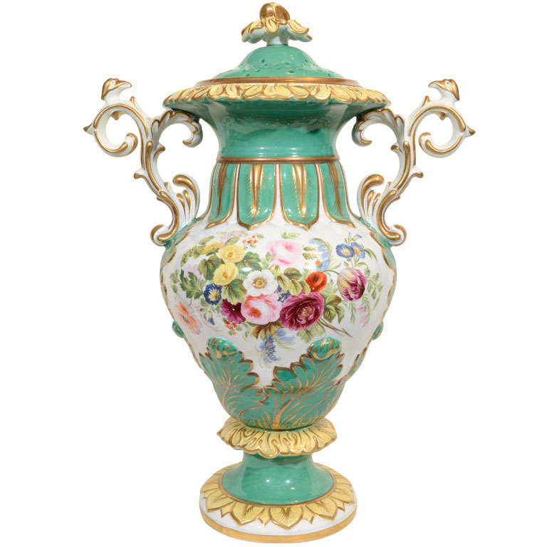 A Large Victorian Vase Painted Sea Foam Green With Flowers