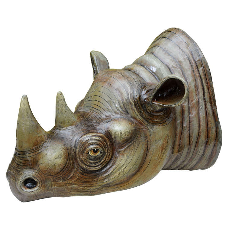 Sergio Bustamante Wall Hung Rhino Head For Sale