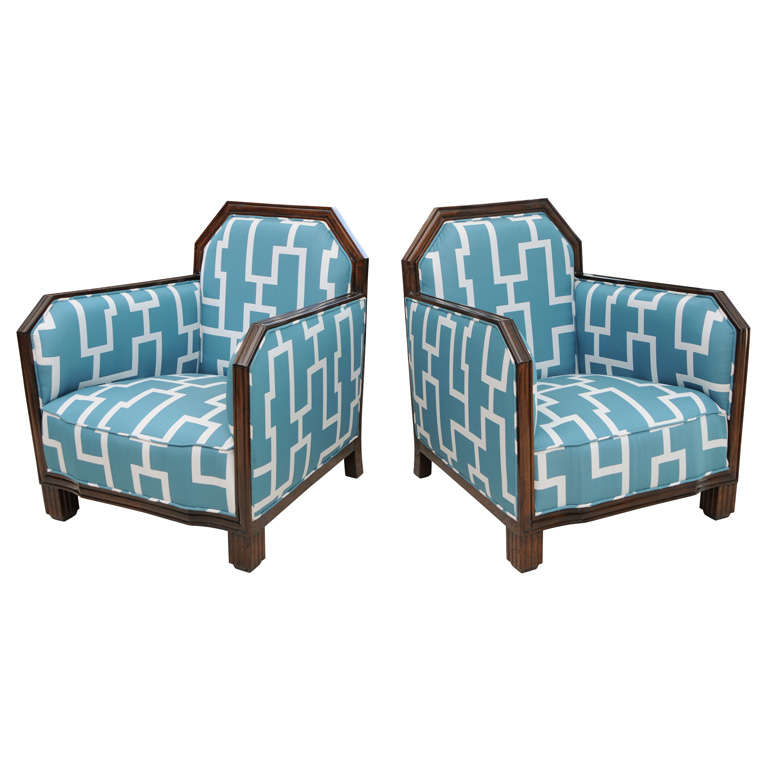 Fine Pair of Rosewood Art Deco Club Chairs, France, Paul Follot