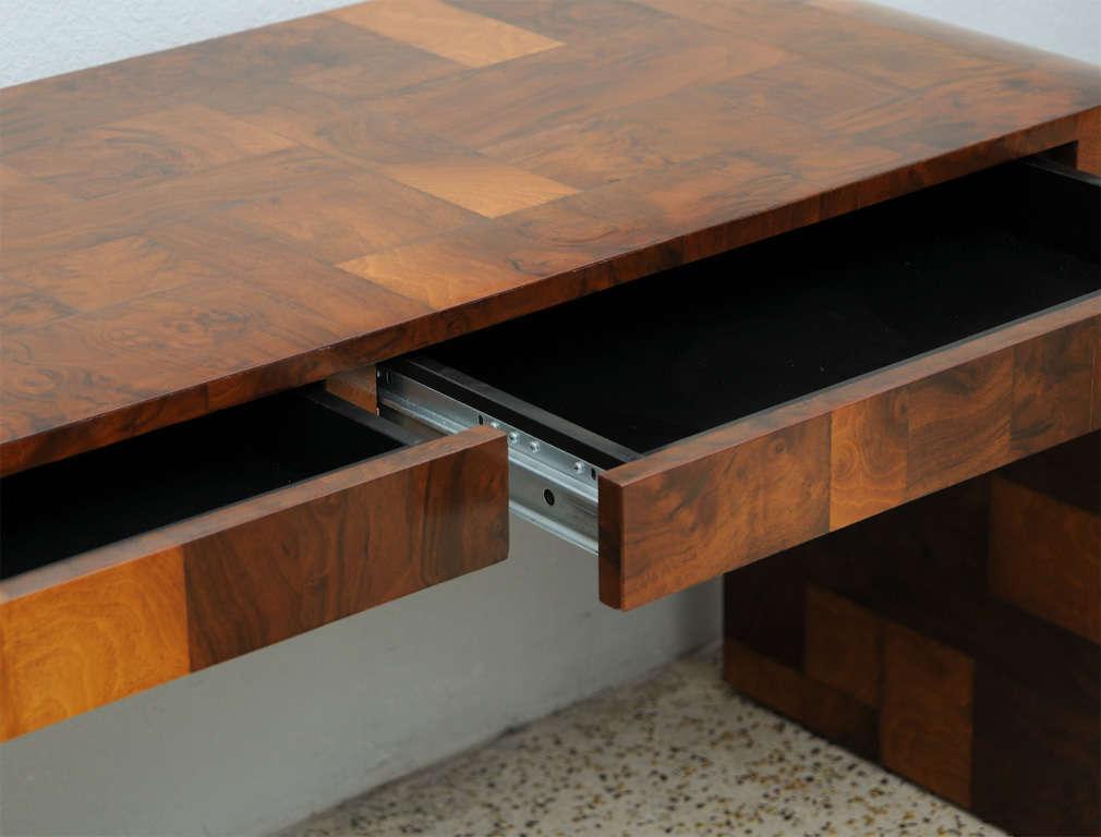 Olive Burl Patchwork Desk/Console By Paul Evans 3