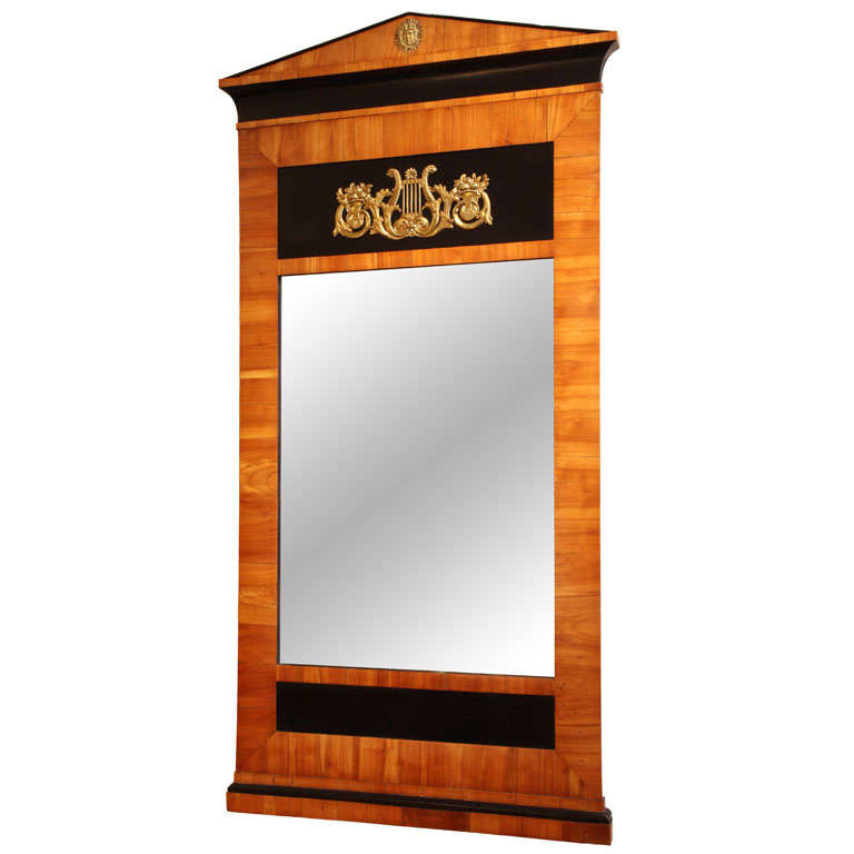 19th c Biedermeier cherrywood mirror