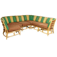 Sectional Bamboo Sofa by Ficks Reed