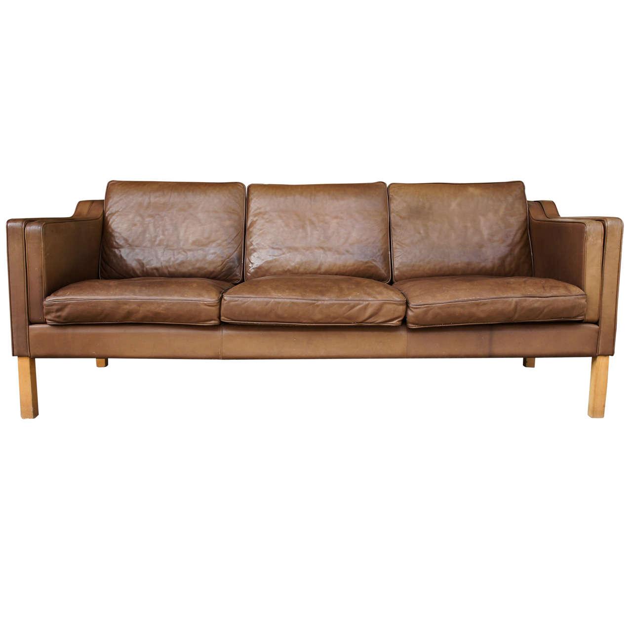danish modern sofa leather upholstered sofa at 1stdibs