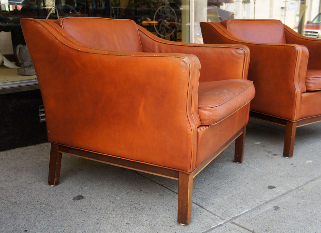 0f96558db2d20 Mid-Century Modern A Pair of Danish Modern Leather Upholstered Club Chairs  For Sale