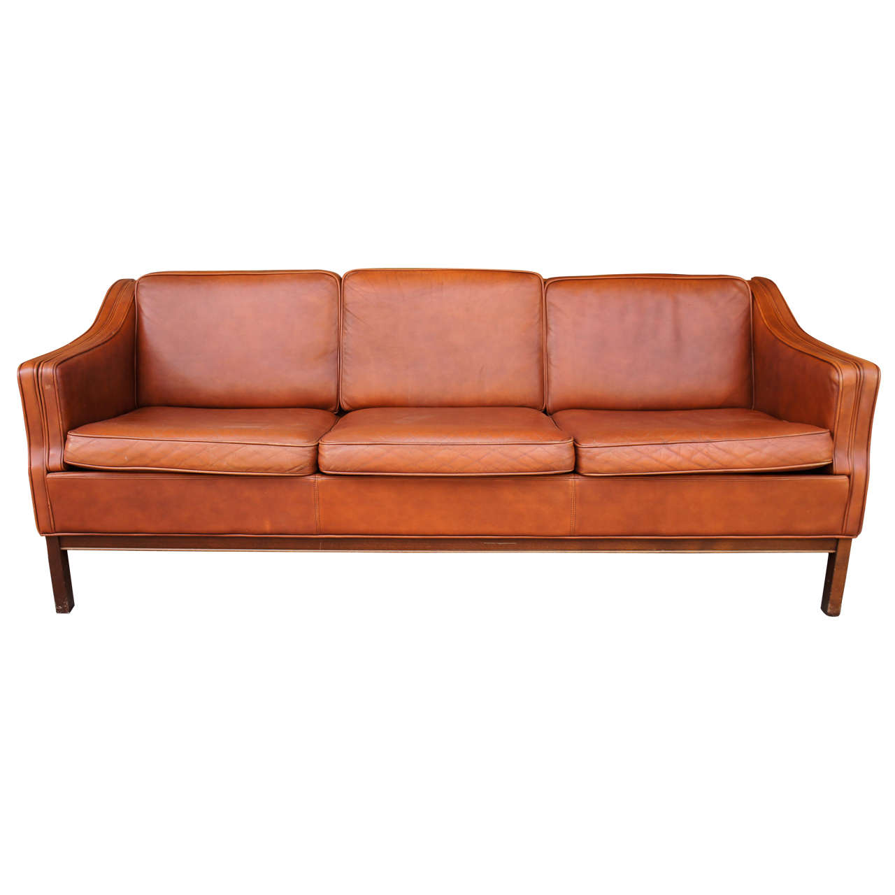 danish modern 1960s leather upholstered sofa at 1stdibs