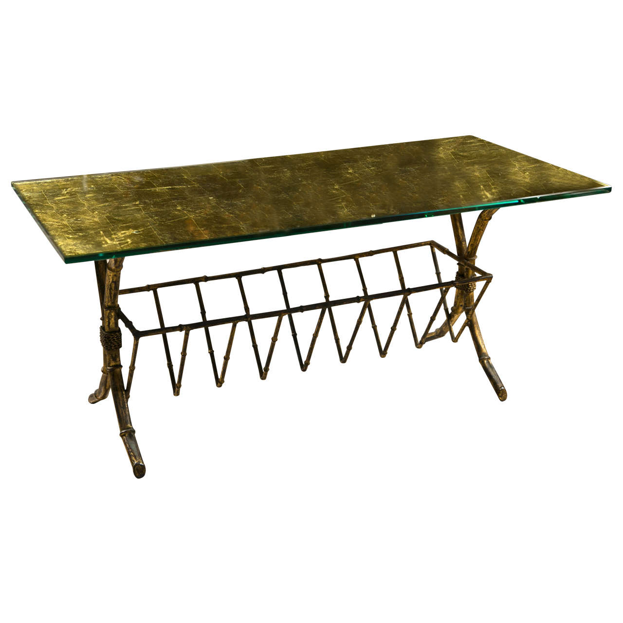 Gilt-Brass Gold Leaf Gold Leaf Glass Top Coffee Table With Magazine Shelf