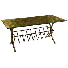 Hollywood Regency Style Gilt-Brass Coffee Table
