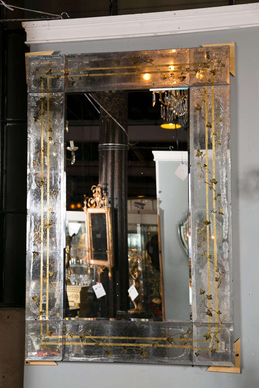 Pair Of Magnificent Verre Eglomise Mirrors Attrib Jansen