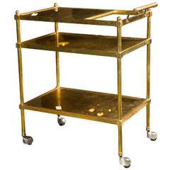 French Art Deco Style Gilt Brass Tea Cart