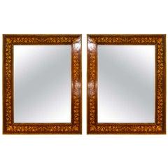Pair of Adam's Style Inlaid Mirrors