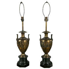 A Pair Of Neoclassical Style Bronze Table Lamps.