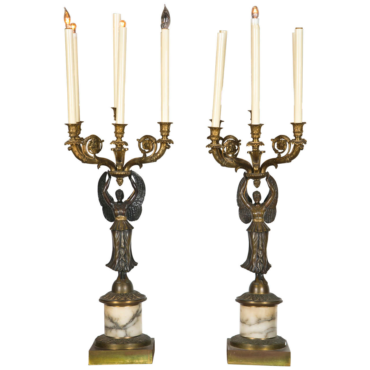 Pair of Neoclassical Style Bronze Candelabras