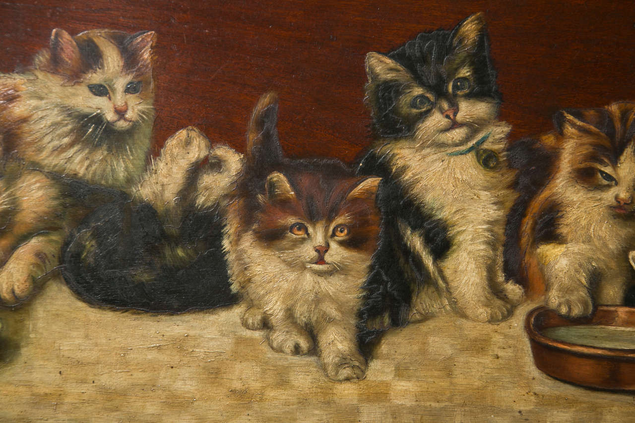 Beautiful Oil on Board Painting of Kittens
