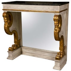 French Pier Console Table Jansen Mirrored Backsplat Marble Top Figural Motifs