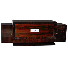 French Art Deco Style Sideboard Made of Macassar Ebony, White Leather and Marble