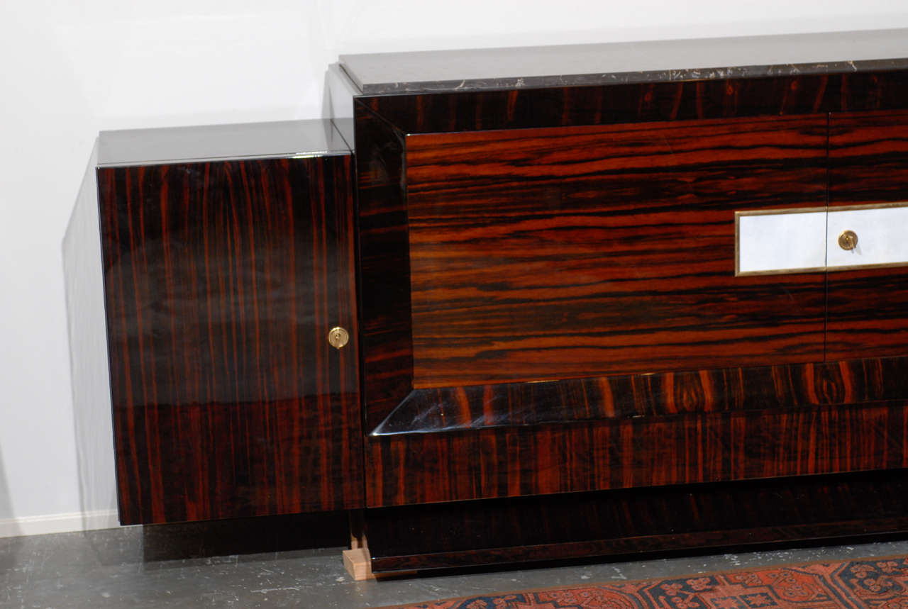 Good French Art Deco Style Sideboard Made Of Macassar Ebony, White Leather And  Marble 3