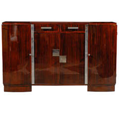 French Art Deco Style Sideboard with Palisander Wood and Chrome Accents