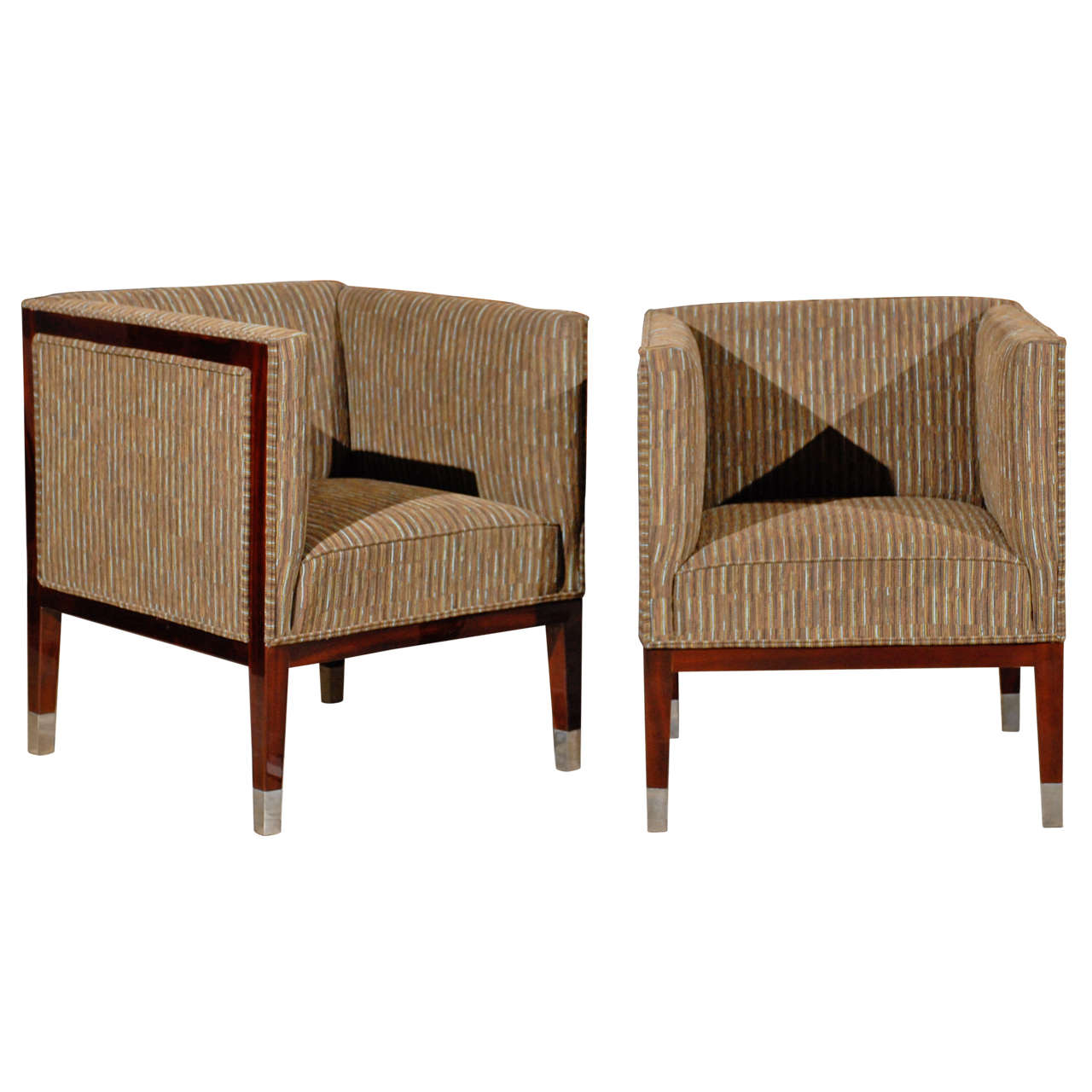 pair of art deco period upholstered club chairs with wraparound