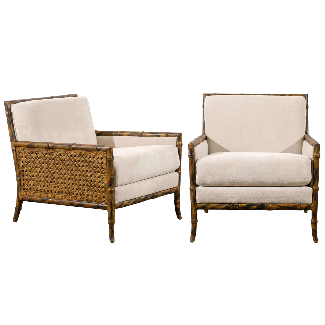 Superb Pair Of Gibbings Style Faux Bamboo Lounge Club
