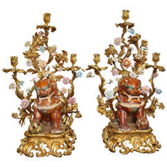 Large Pair of Porcelain and Bronze Figural Candelabras with Foo Dogs
