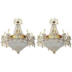 Pair of Empire Style Bronze and Crystal Chandeliers