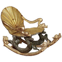 Fine Venetian Grotto Silvered Rocking Chair with Animal Figures
