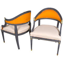 Swedish Neoclassical Barrel Back Chairs