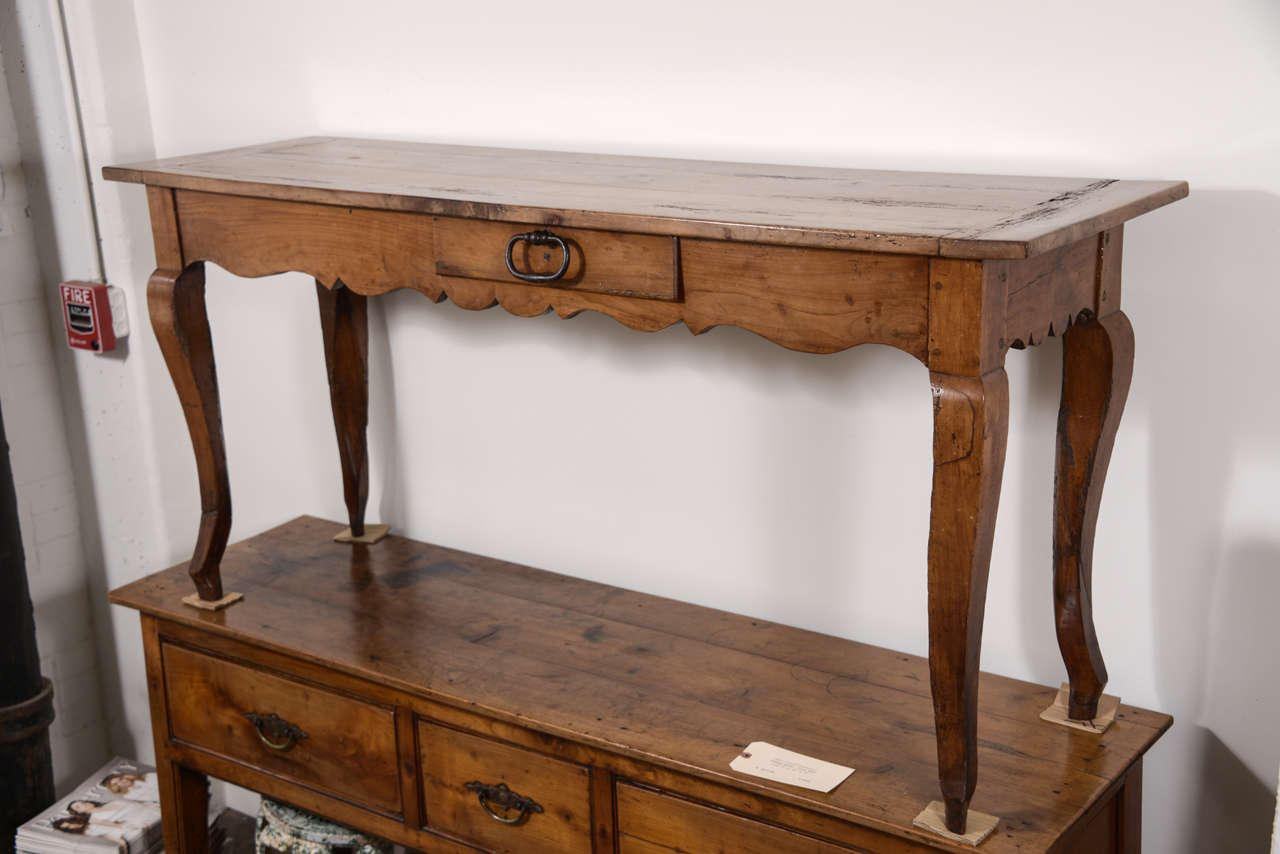 19th Century French Narrow Cherry Sofa Table/Server In Excellent Condition For Sale In Houston, TX