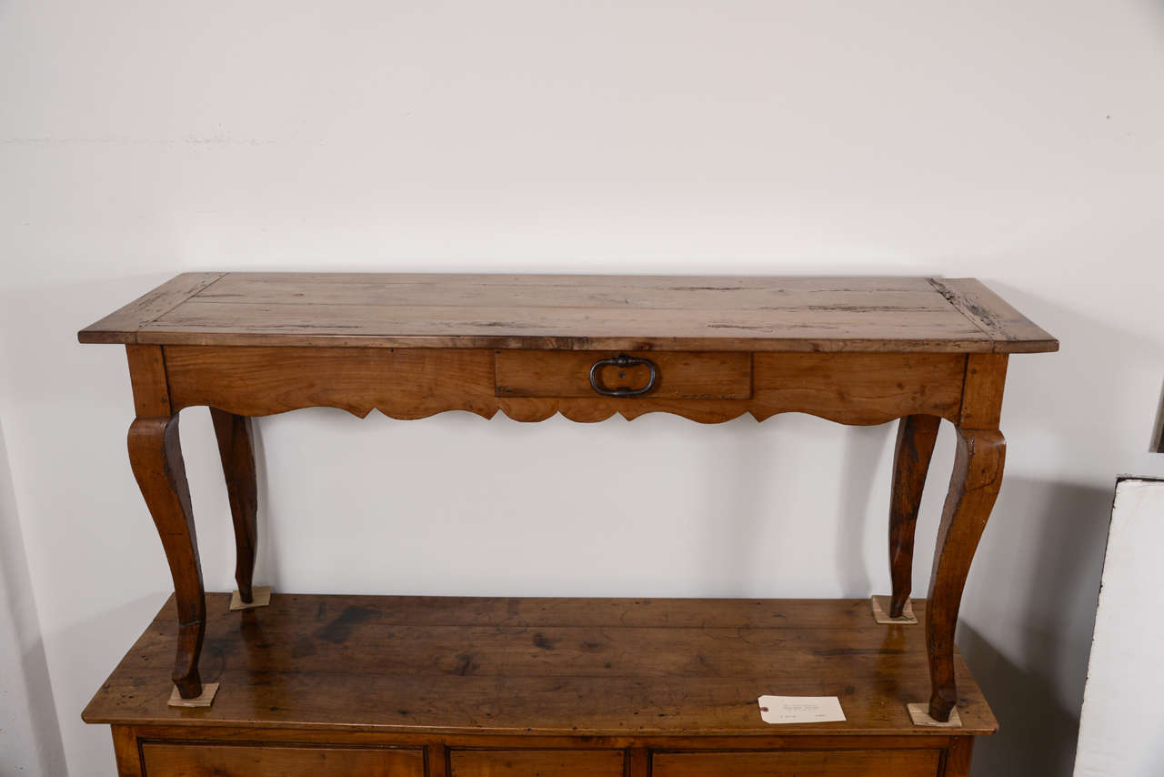 19th Century French Narrow Cherry Sofa Table/Server For Sale 6