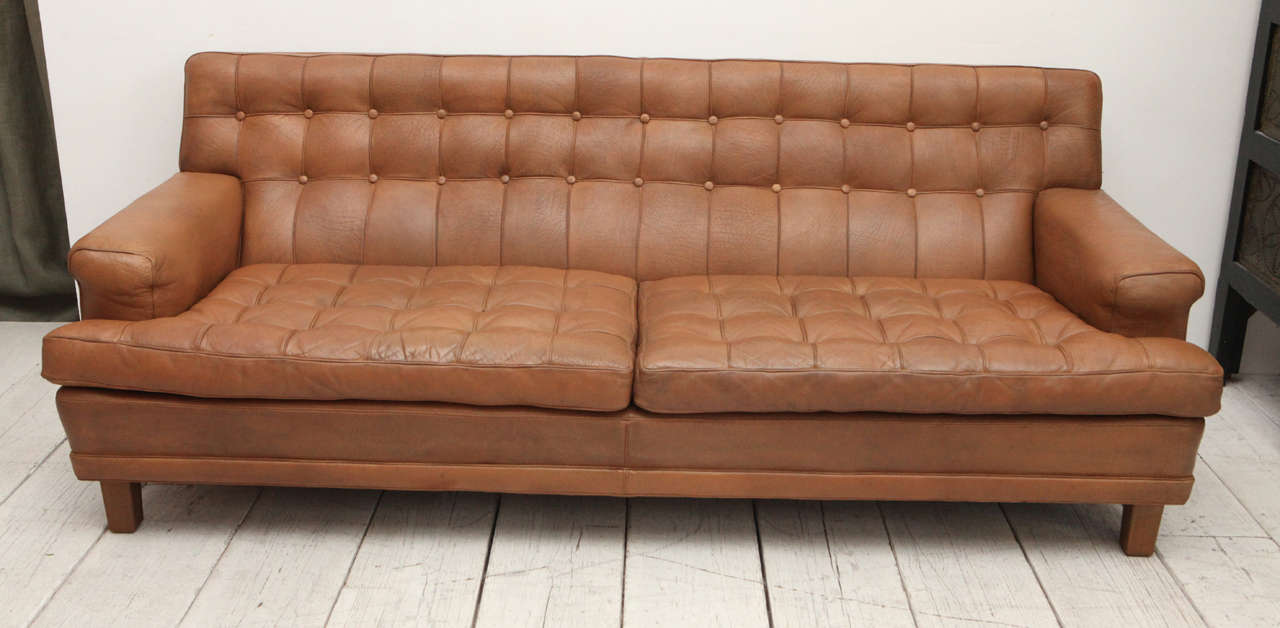 Mid Century Tan Leather Tufted Mexico Sofa By Arne Norell At 1stdibs ~ Tan Leather Mid Century Sofa