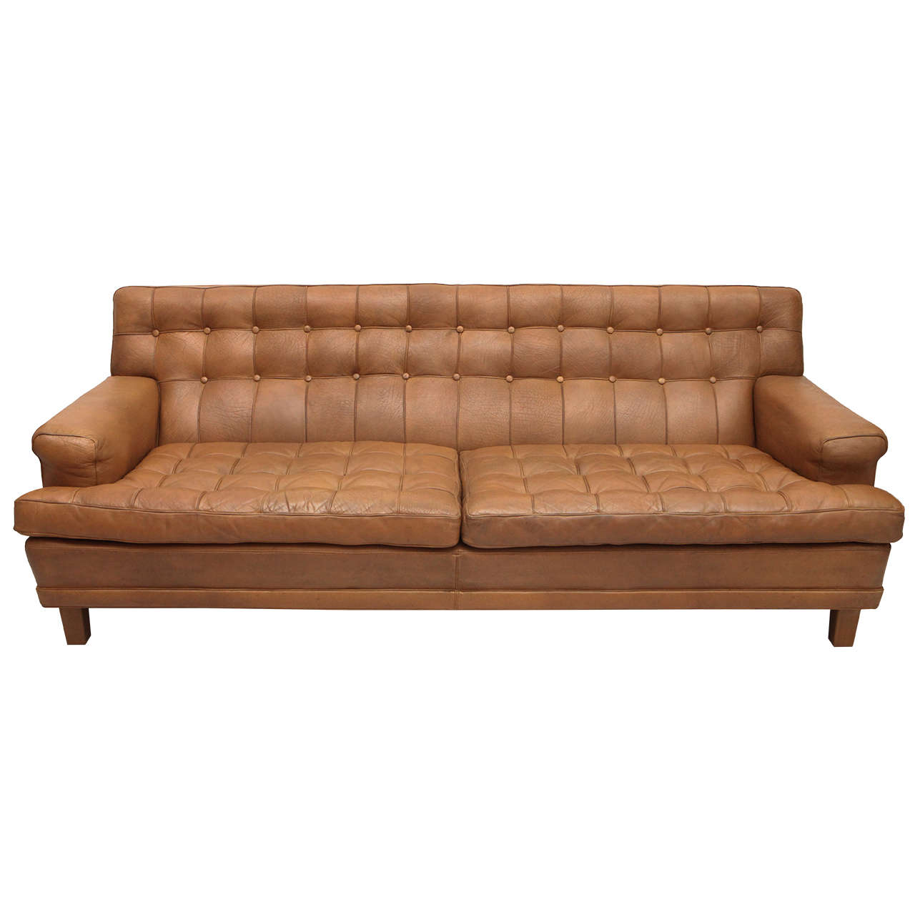 Mid Century Tan Leather Tufted Mexico Sofa By Arne Norell For